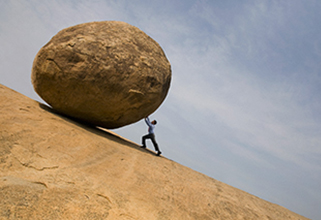 Willpower is pushing a rock uphill